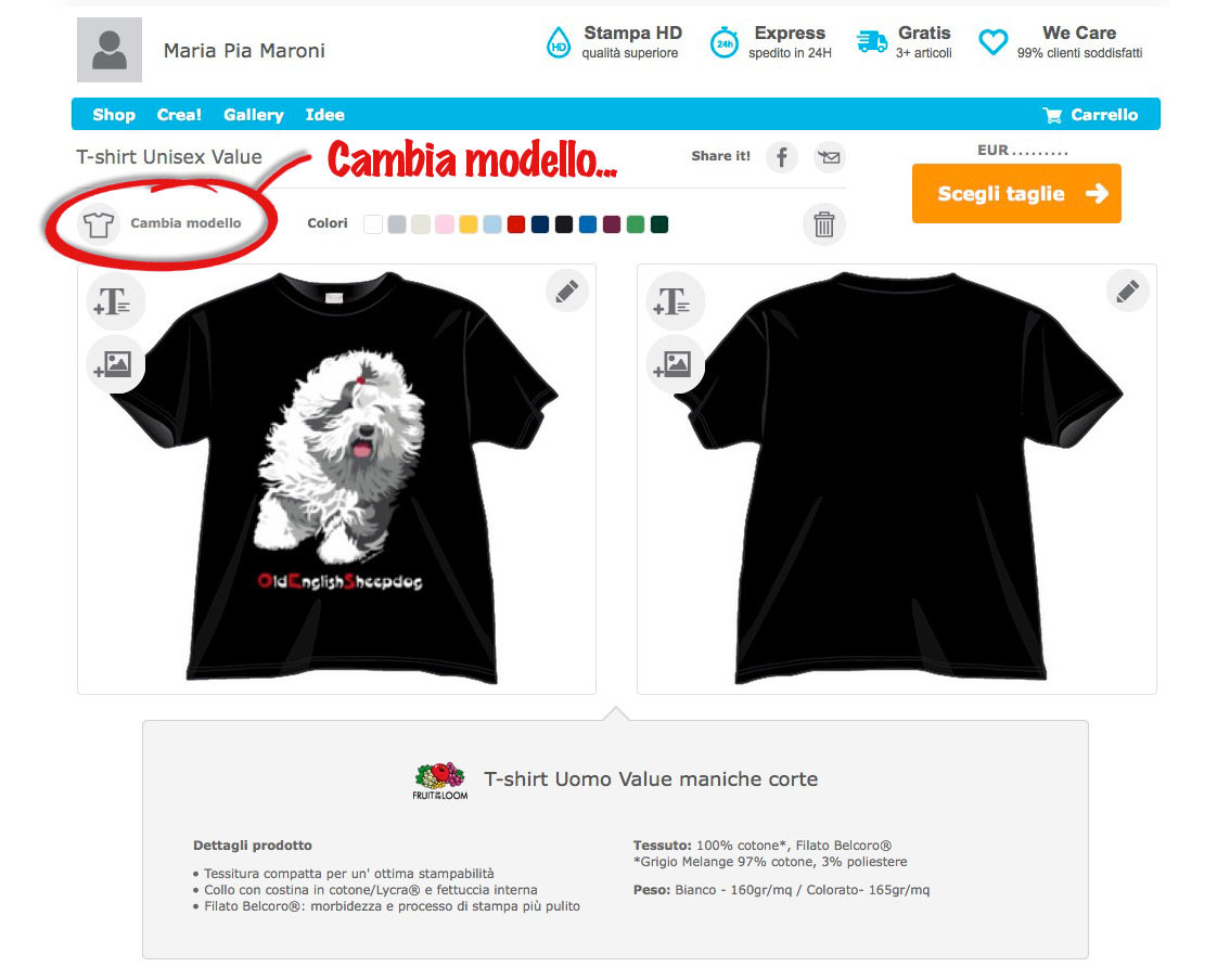 Cambia modello: maglietta femminile, canotta, felpa...