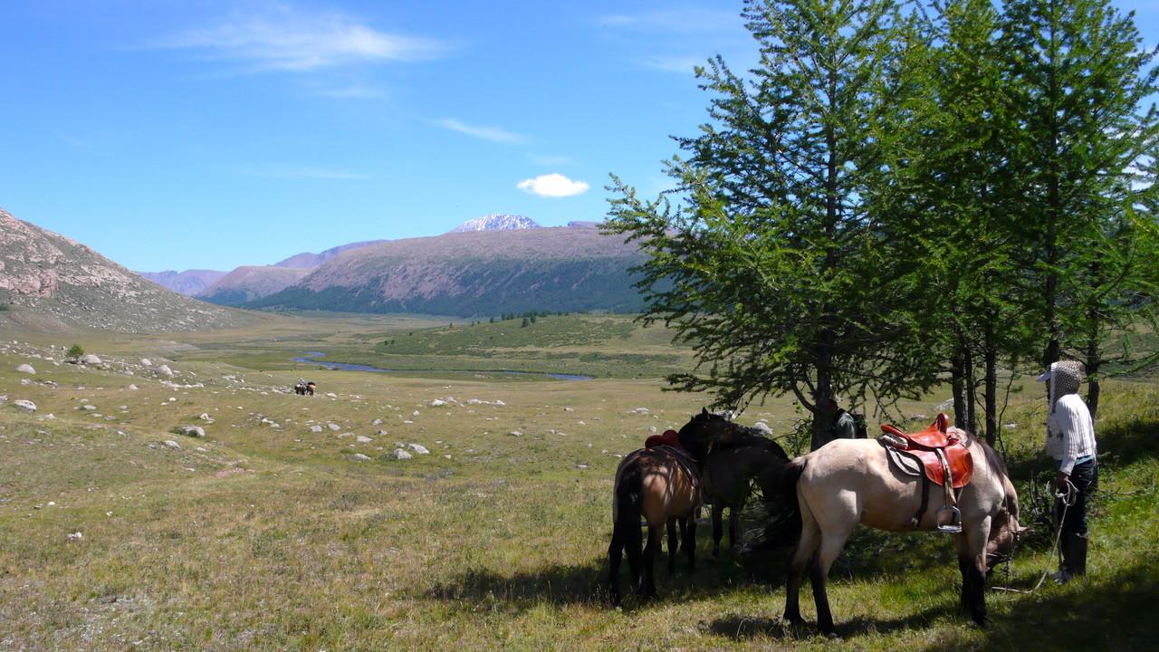 L'approche à cheval avec la vue sur les cimes