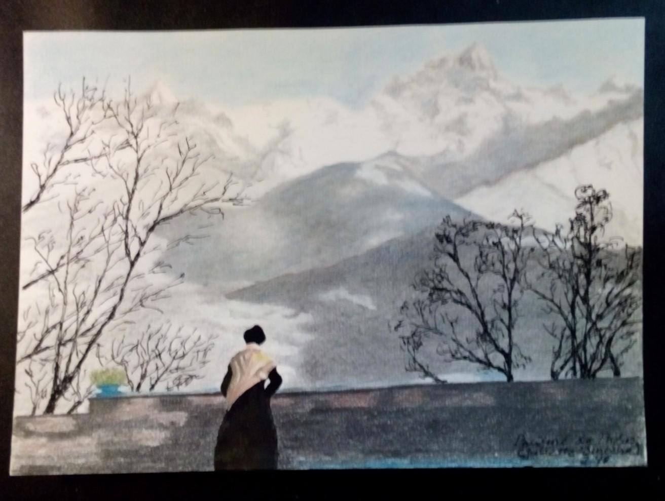 """Pauline de Theús 2018 ( Pastellstift, Bleistift, Tusche ) ( 21 x 14,8 cm ) Juliette Binoche in einem Szenenbild aus """"Der Husar auf dem Dach"""" von 1995"""