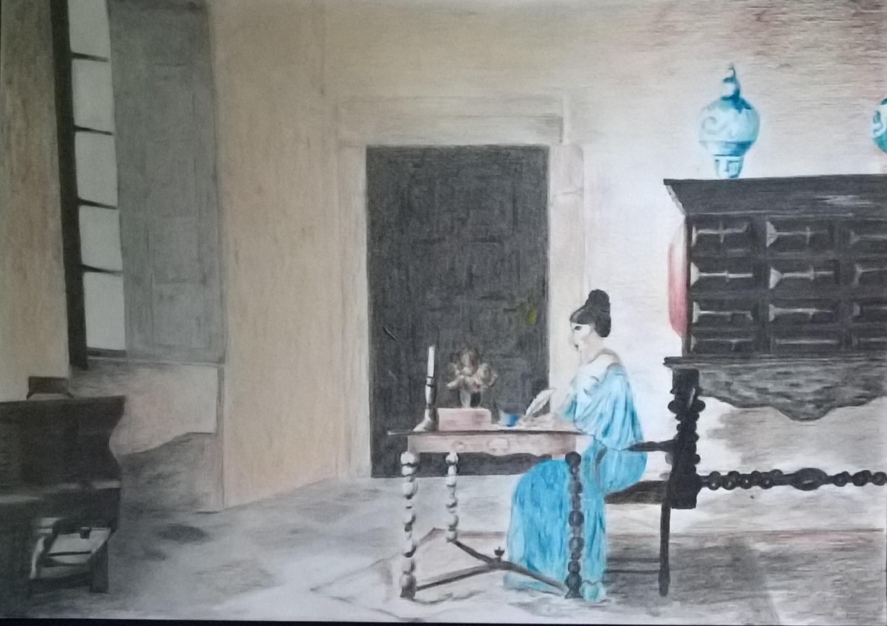 """Pauline de Theús 2019 ( Pastellstift, Bleistift ) ( 29,6 x 21 cm ) Juliette Binoche in einem Szenenbild aus """"der Husar auf dem Dach"""" von 1995"""
