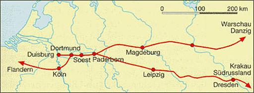 Karte vom Hellweg