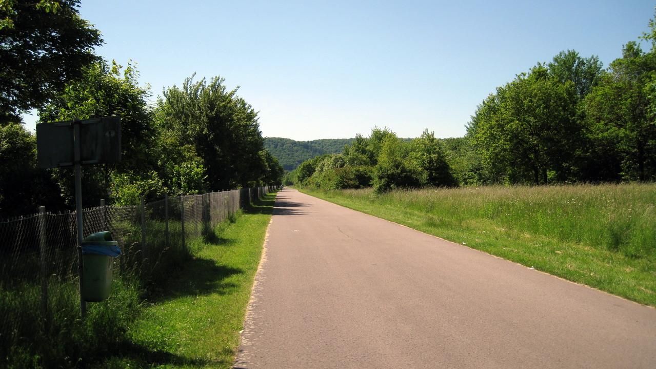 Zufahrt zur Staustufe und Fahrradweg links der Saar
