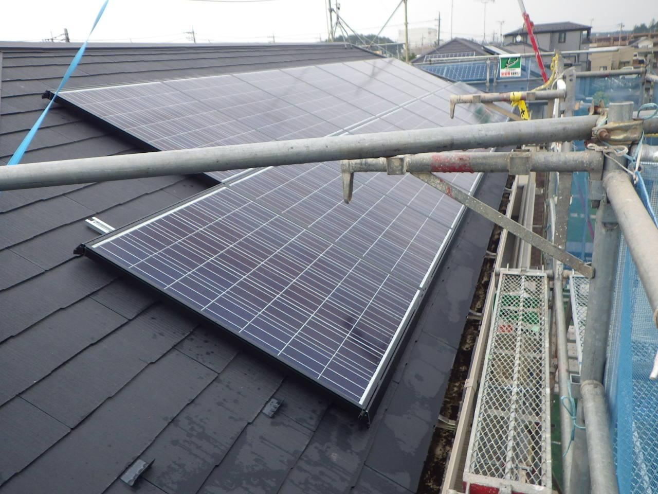 化粧スレート屋根への太陽光発電システム設置工事を行いました。in那須塩原市