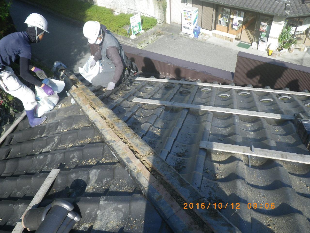 和瓦屋根の棟積直し工事を行います。in宇都宮市