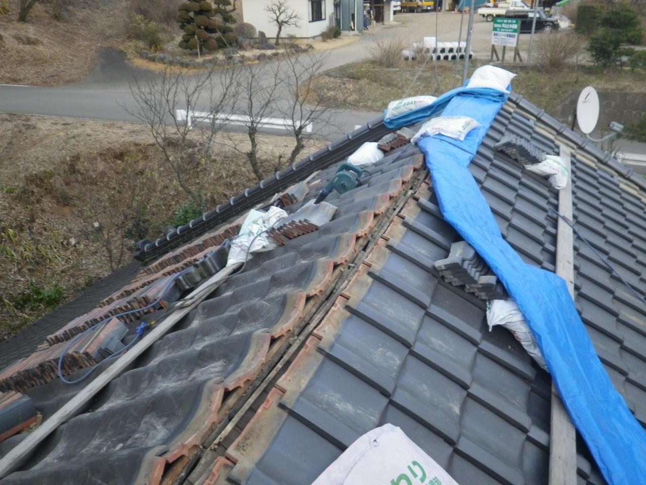 大棟の積直し工事を行います。in那須町