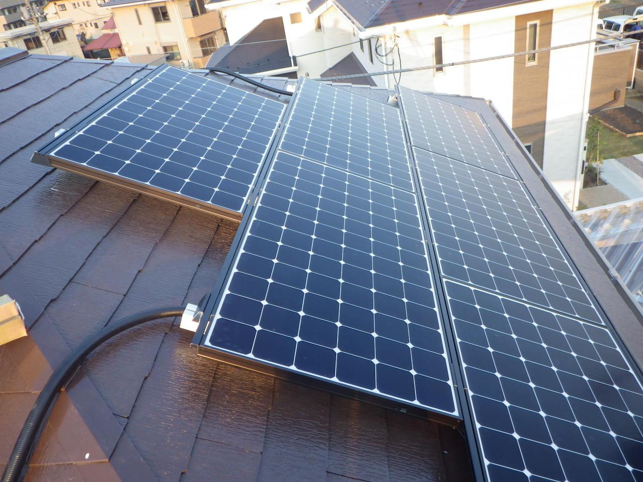 化粧スレート屋根への太陽光発電システム設置工事を行いました。in宇都宮市