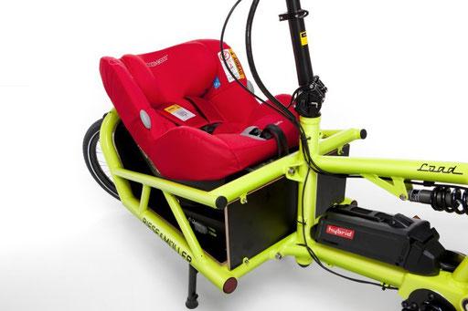 Riese und Müller Lasten e-Bike, e-Cargobike Load Zubehör und Ausstattungsoptionen mit Kindersitzschale