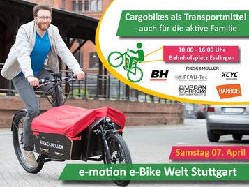 e-motion e-Bike Welt in Stuttgart - Cargobike Ausstellung in Esslingen