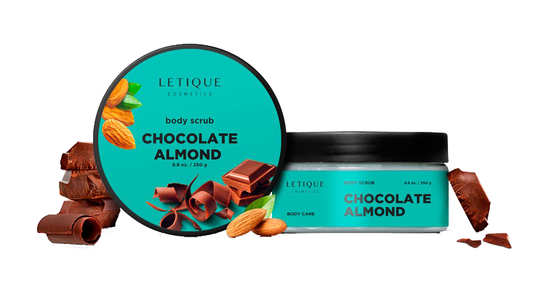 Body Scrub Chocolate Almond Details - Letique Cosmetics Online-Shop Deutschland