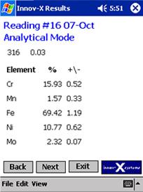 定量分析結果画面