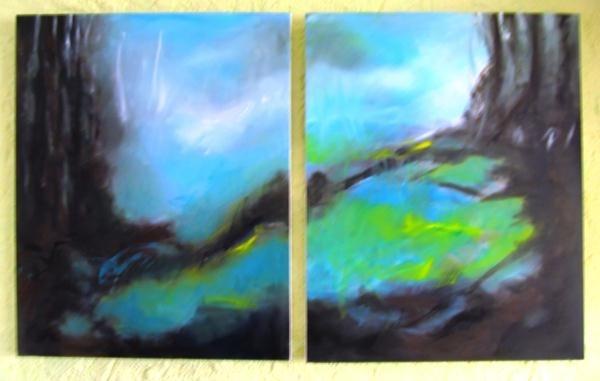 Ohne Titel, Acryl auf Leinwand, 2 Mal 100 X 80 cm, dicke Rahmen