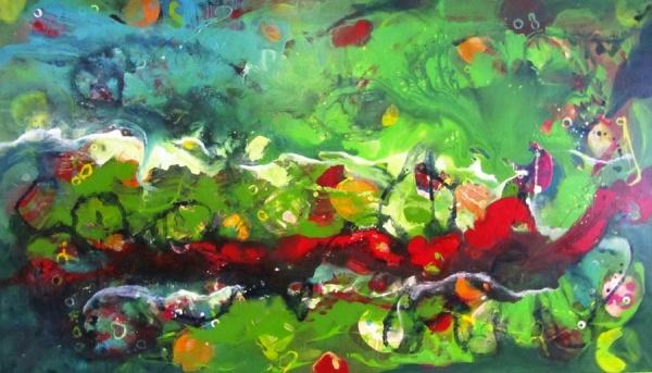 Der rote Fluß, Acryl auf Leinwand 70x 120 cm