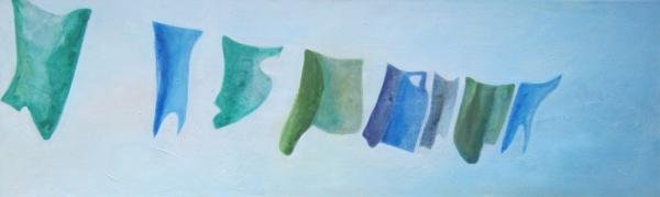 Frühlingswäsche - Acryl auf Leinwand - 35 x 115