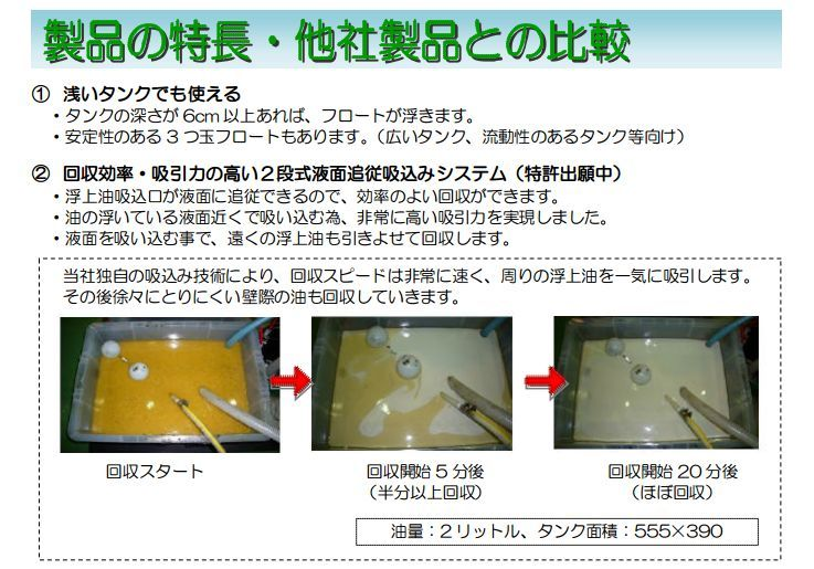 浮上油回収装置「eco eit」比較