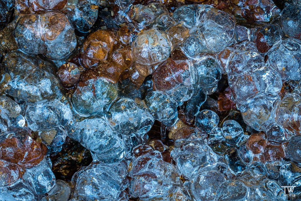Mit Eis überzogenes Laub und Steine (B1244)