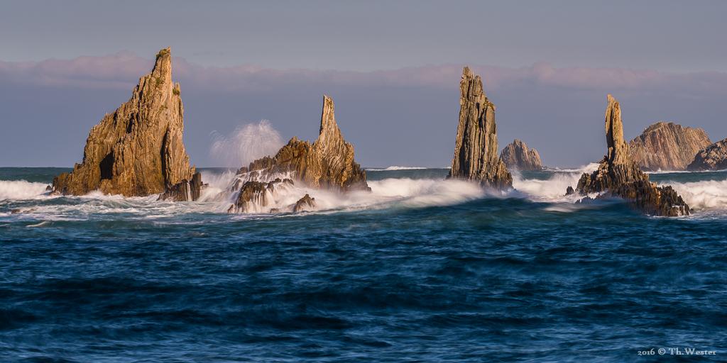 Die Flysch-Felsen, angeleuchtet im Abendlicht (B865)