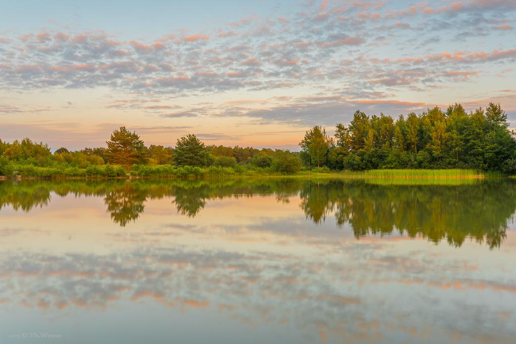 Diesen eigentlich recht kleinen und tristen Weiher tauchte das Licht kurz vor Sonnenuntergang in eine schöne Landschaft (B362)