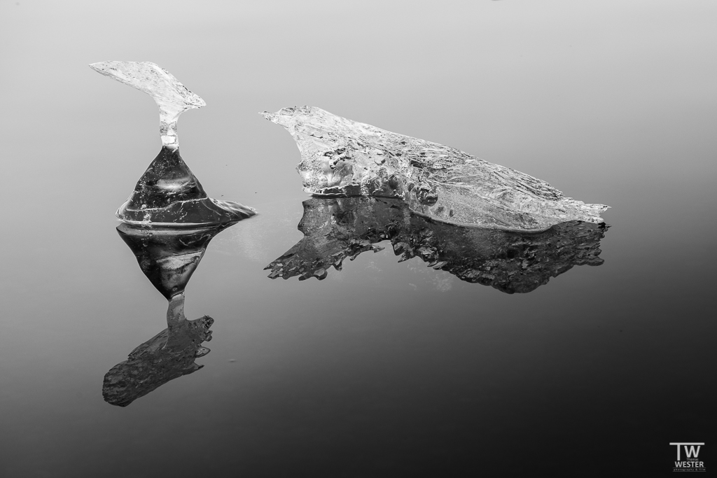 In der Gletscherlagune (eine Art See vor dem Gletscher, der nur über einen schmalen Zufluss mit dem Meer verbunden ist) sieht man bei Windstille viele interessante, gespiegelte Formen (B1218)