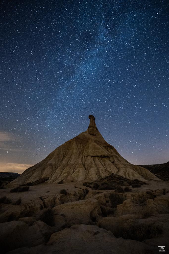 In der Nacht stand die Milchstraße direkt über dem Castil de Tierra (B1817)