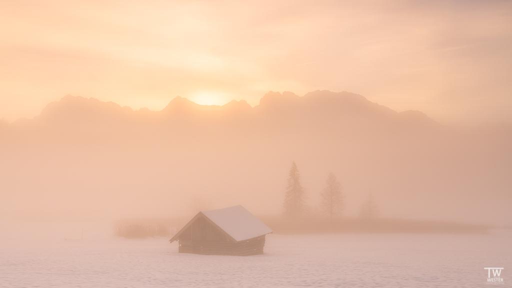 Der Nebel war teilweise extrem dicht, trotzdem kam die Sonne durch (B1526)