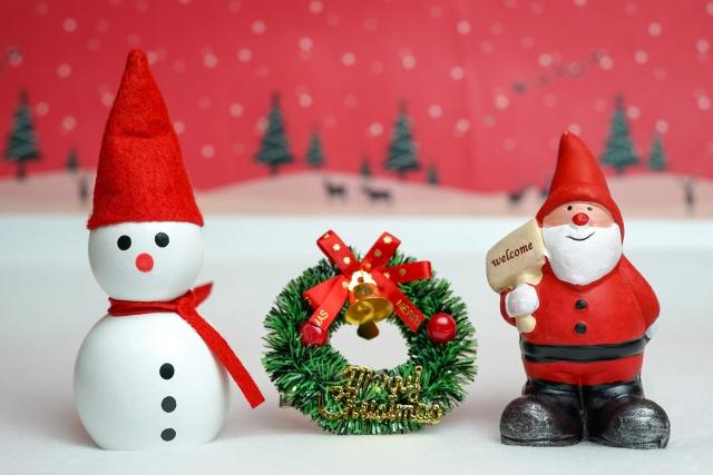 サンタと雪だるまとミニリース