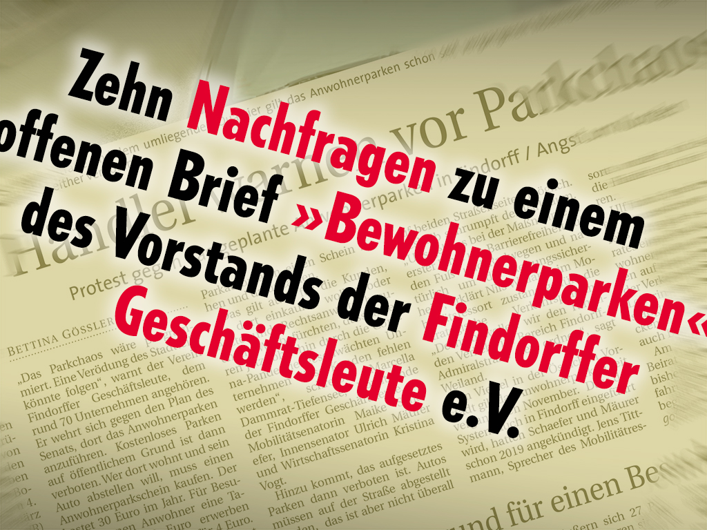 Zehn Nachfragen an den Vorstand der Findorffer Geschäftsleute e.V. Und seit heute zehn Antworten.