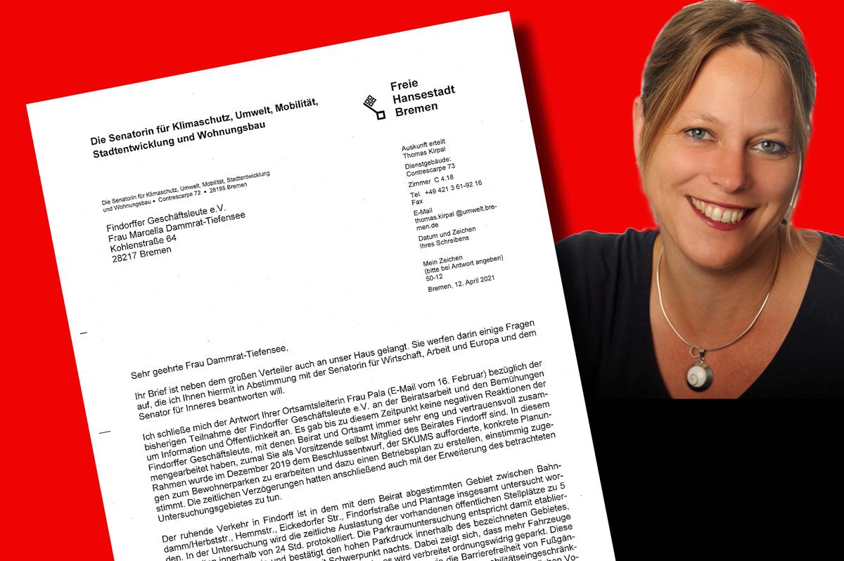 From Maike with Love: Senatorin Schaefer antwortet Vorstand der Findorffer Geschäftsleute e.V. auf »Offenen Brief«