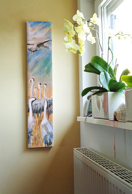 Kraniche, Acryl auf Leinwand, 100 x 20 cm