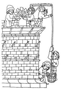 Schema eines mittelalterlichen Baugerüstes