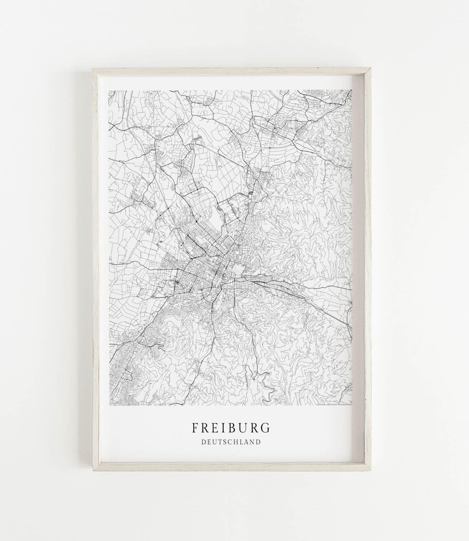 Freiburg Karte.Freiburg Karte Als Poster