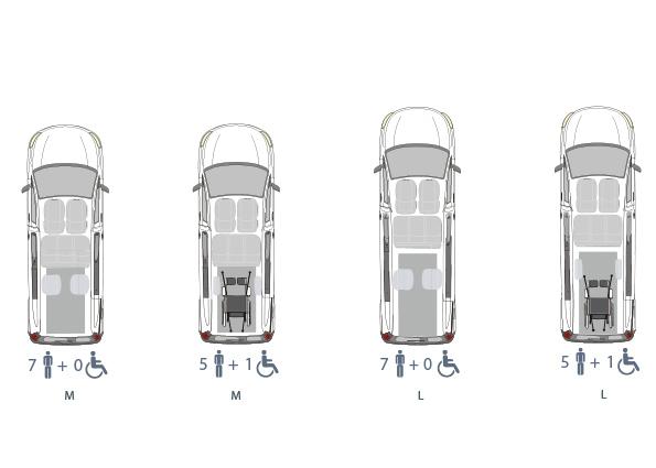 Opel Zafira Life, Beifahrerumbau, Heckausschnitt, Sitzvarianten