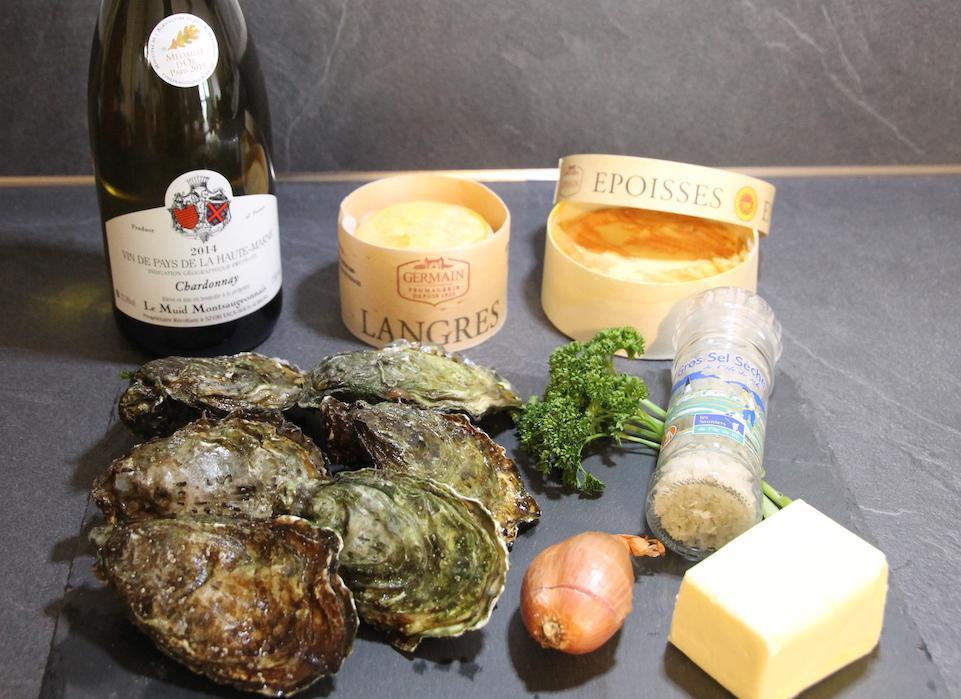 Les ingrédients pour la recette d'huîtres chaudes au fromage de Langres