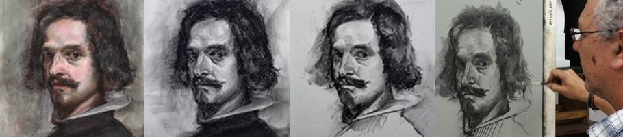 Antonio Ortíz trabajando en el autorretrato de Velázquez