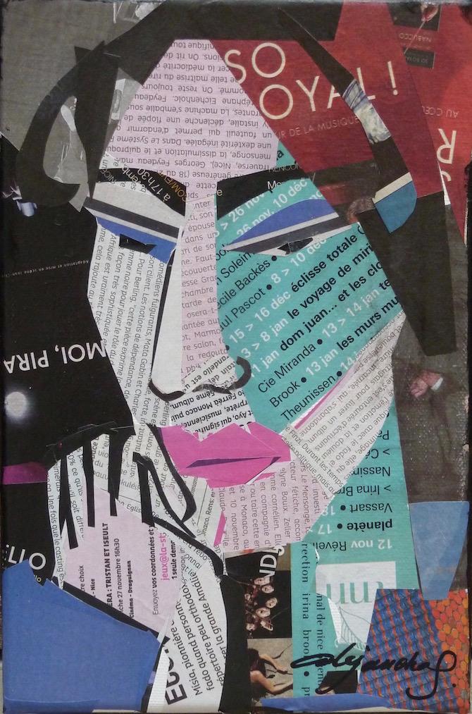 Portrait femme ( collage ) 24X16 cm