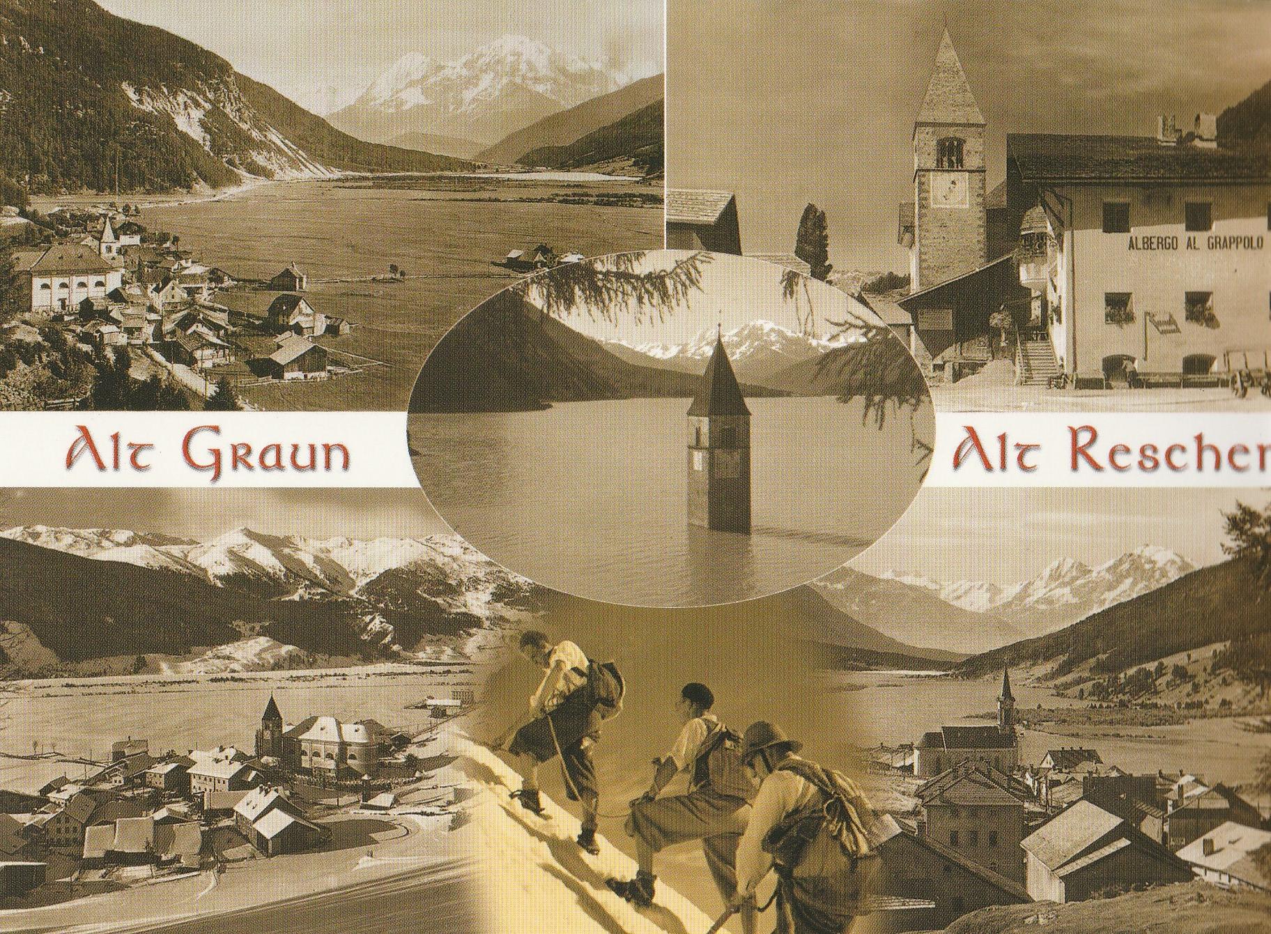 Ansichtskarte wie es vor der Flutung des Reschensee ausgeschaut hat