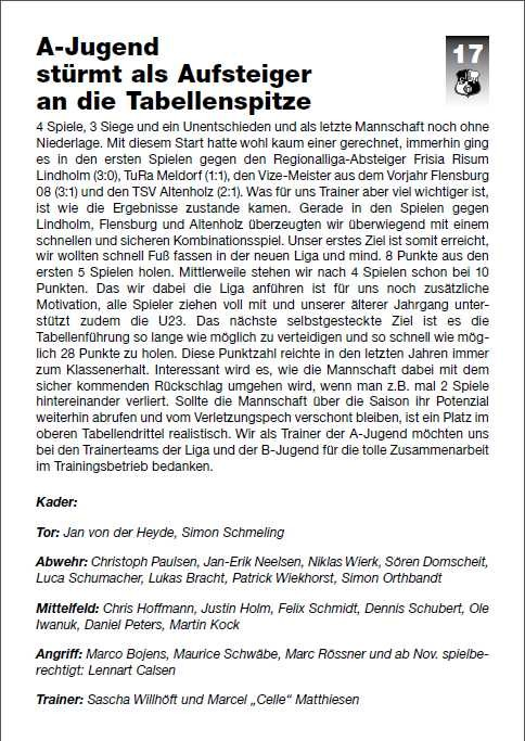 Stadionzeitung vom 21 September