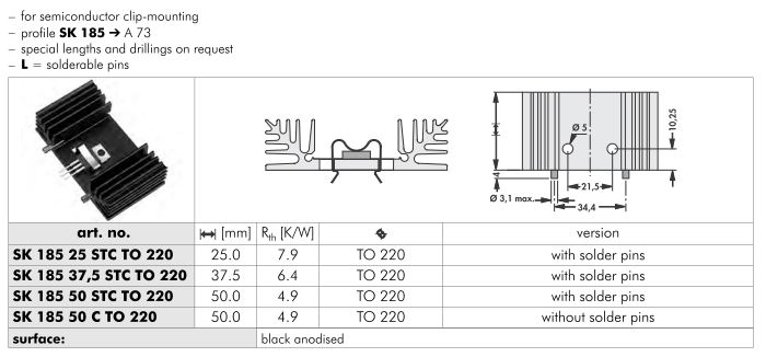 SK185 65x18 mm  Fischer Elektronik 基板取付用押出成形ヒートシンク(クリップマウント)