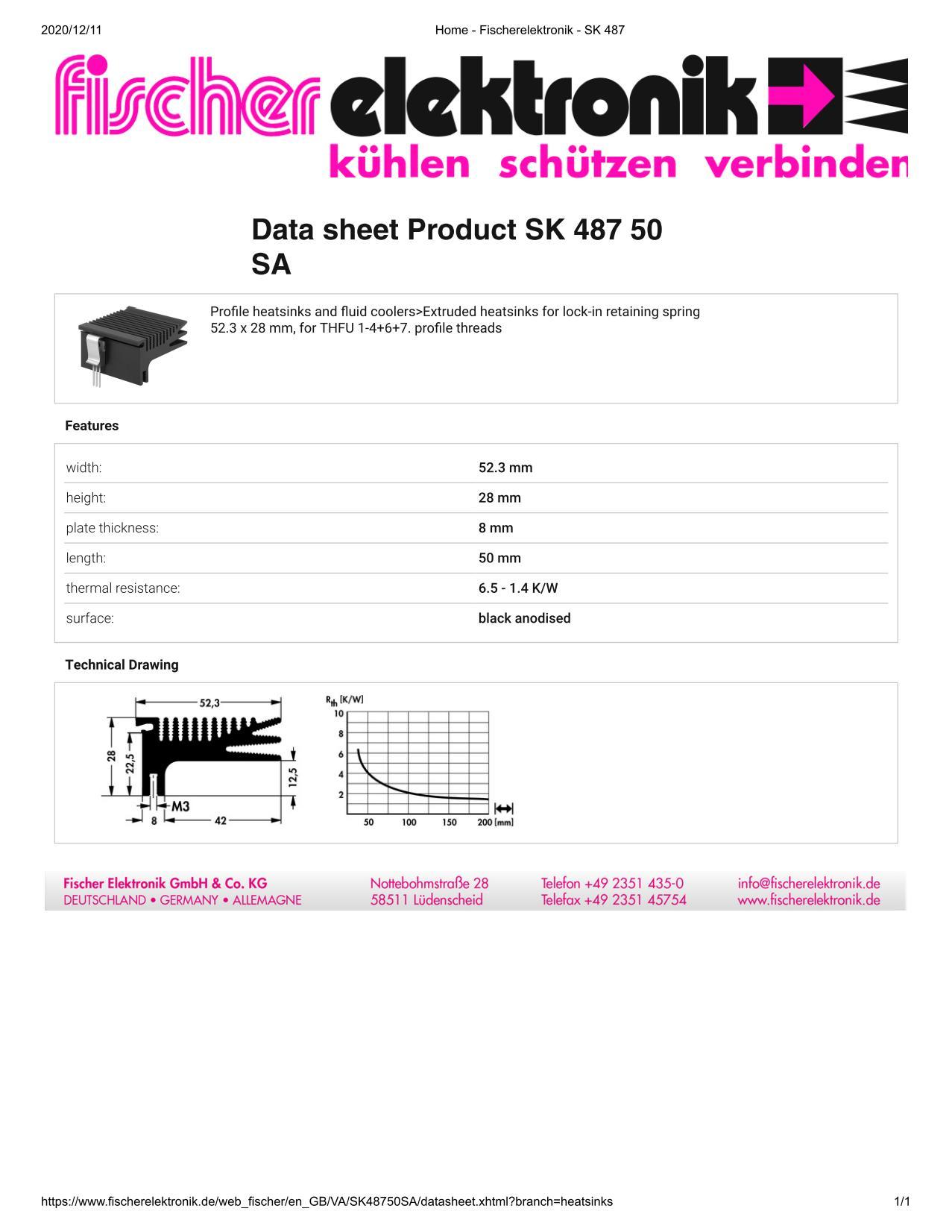 SK 487/50 SA Fischer /フィッシャー ヒートシンク トランジスタ用 クリップ専用タイプ