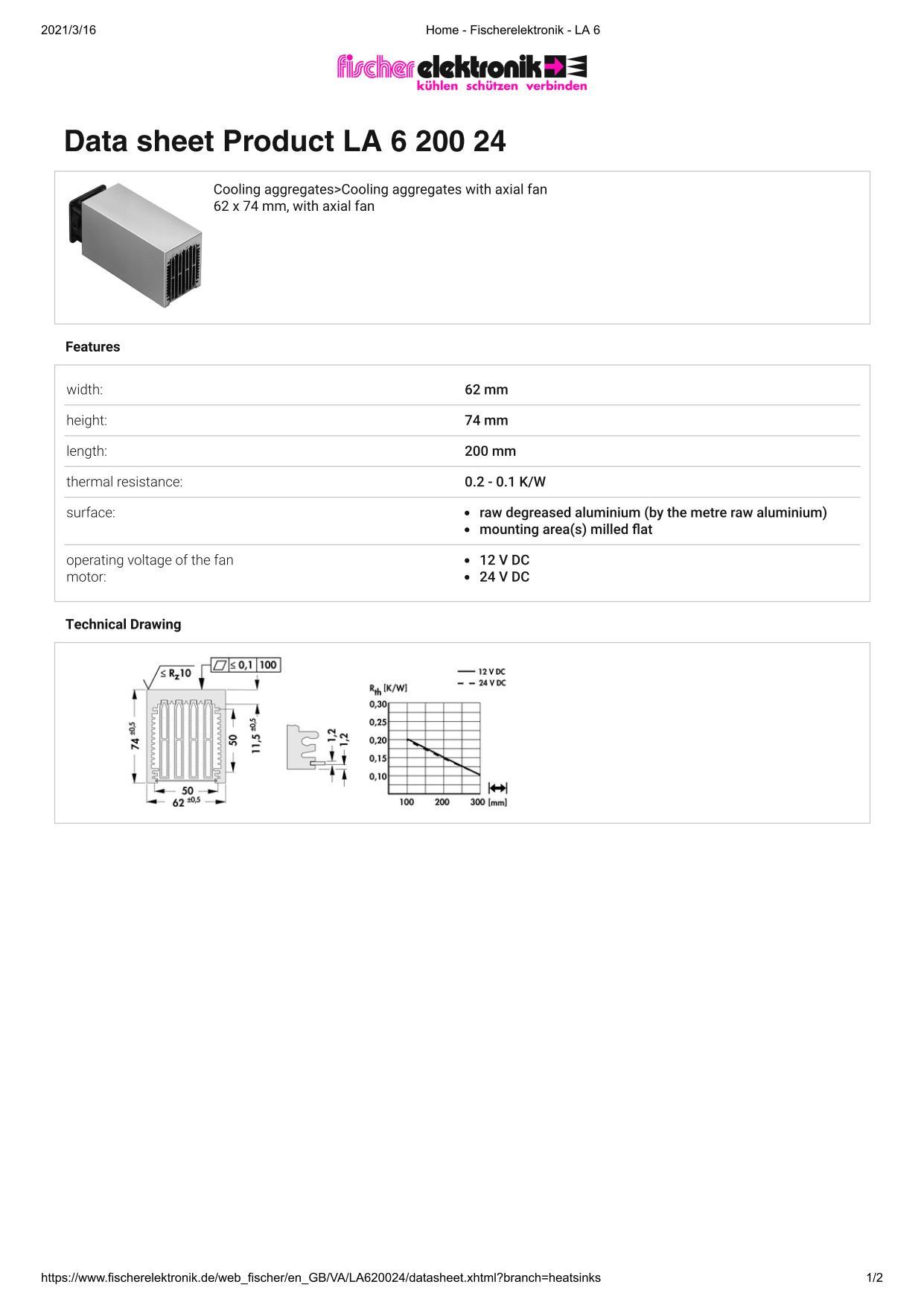 LA 6 200 24 V    62 x 74 mm Fischer /フィッシャー 軸流ファン付 ヒートシンク