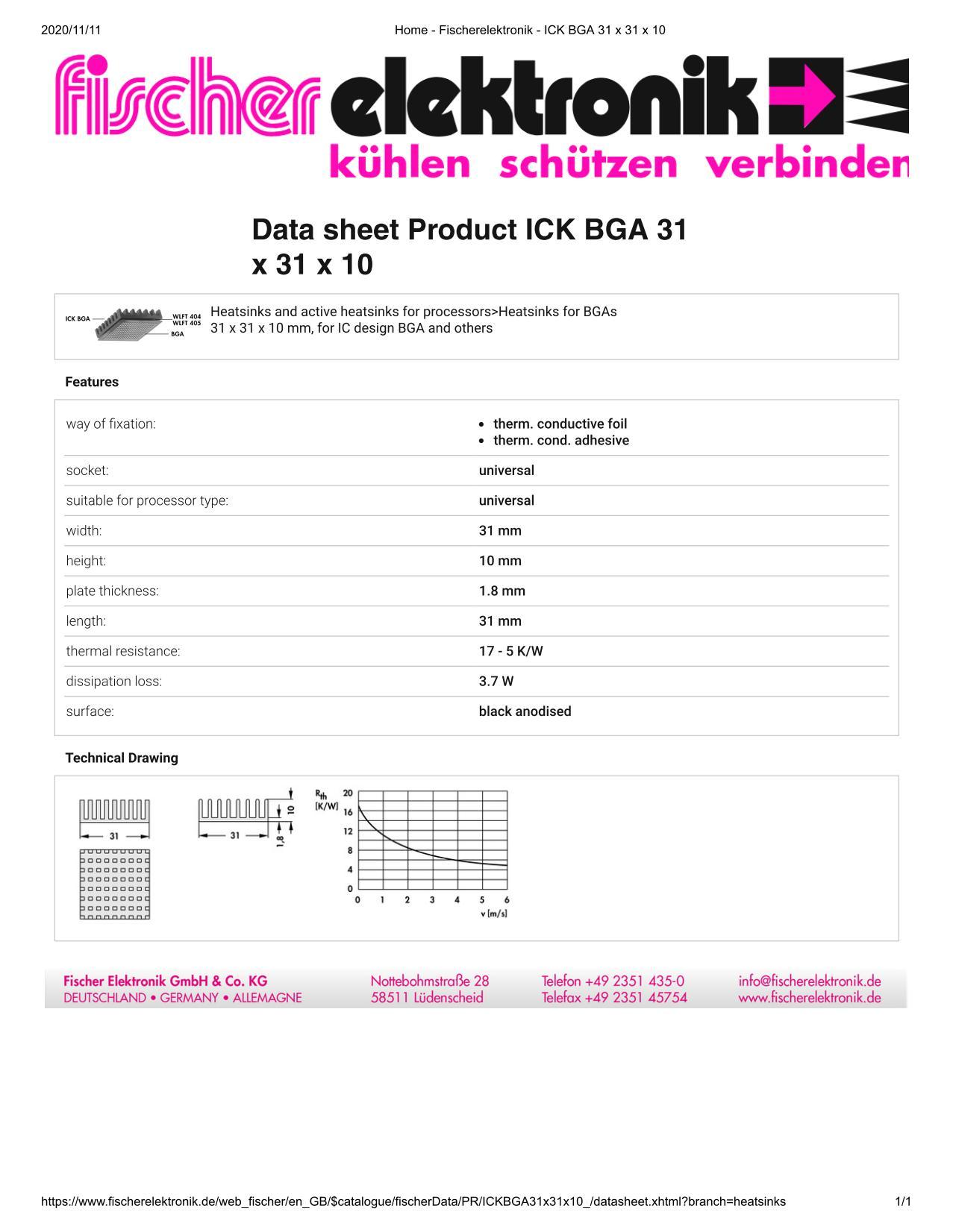 ICK BGA 31x31x10 Fischer / フィッシャー BGA用 ヒートシンク