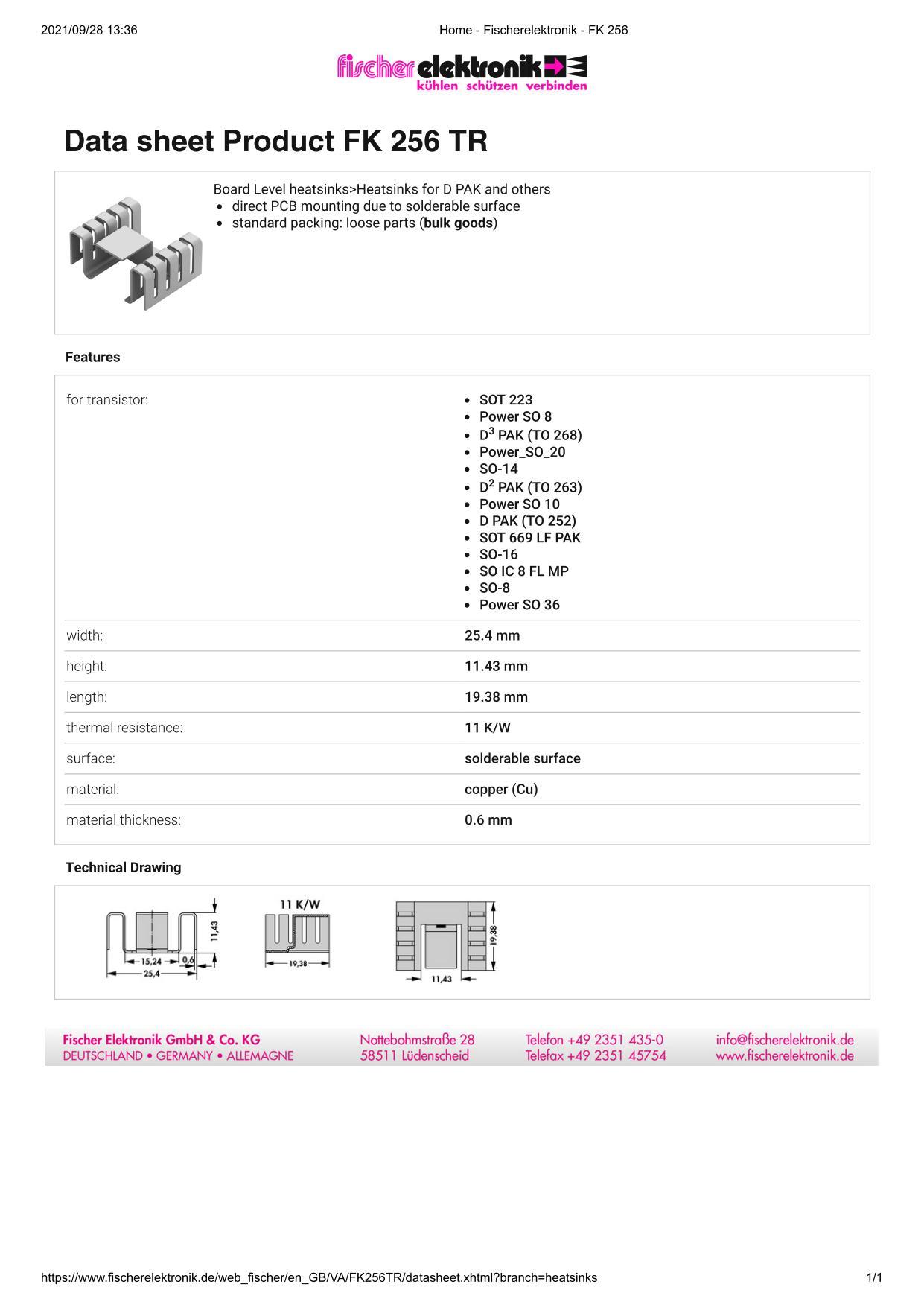 FK 256 TR Fischer 表面実装用ヒートシンク