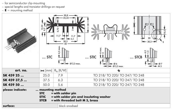 SK459 50x20 mm Fischer Elektronik 基板取付用押出成形ヒートシンク(クリップマウント)