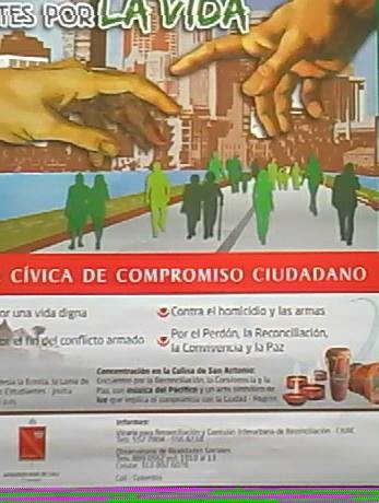 Pancarta de ciudadanos construyendo puentes por la vida
