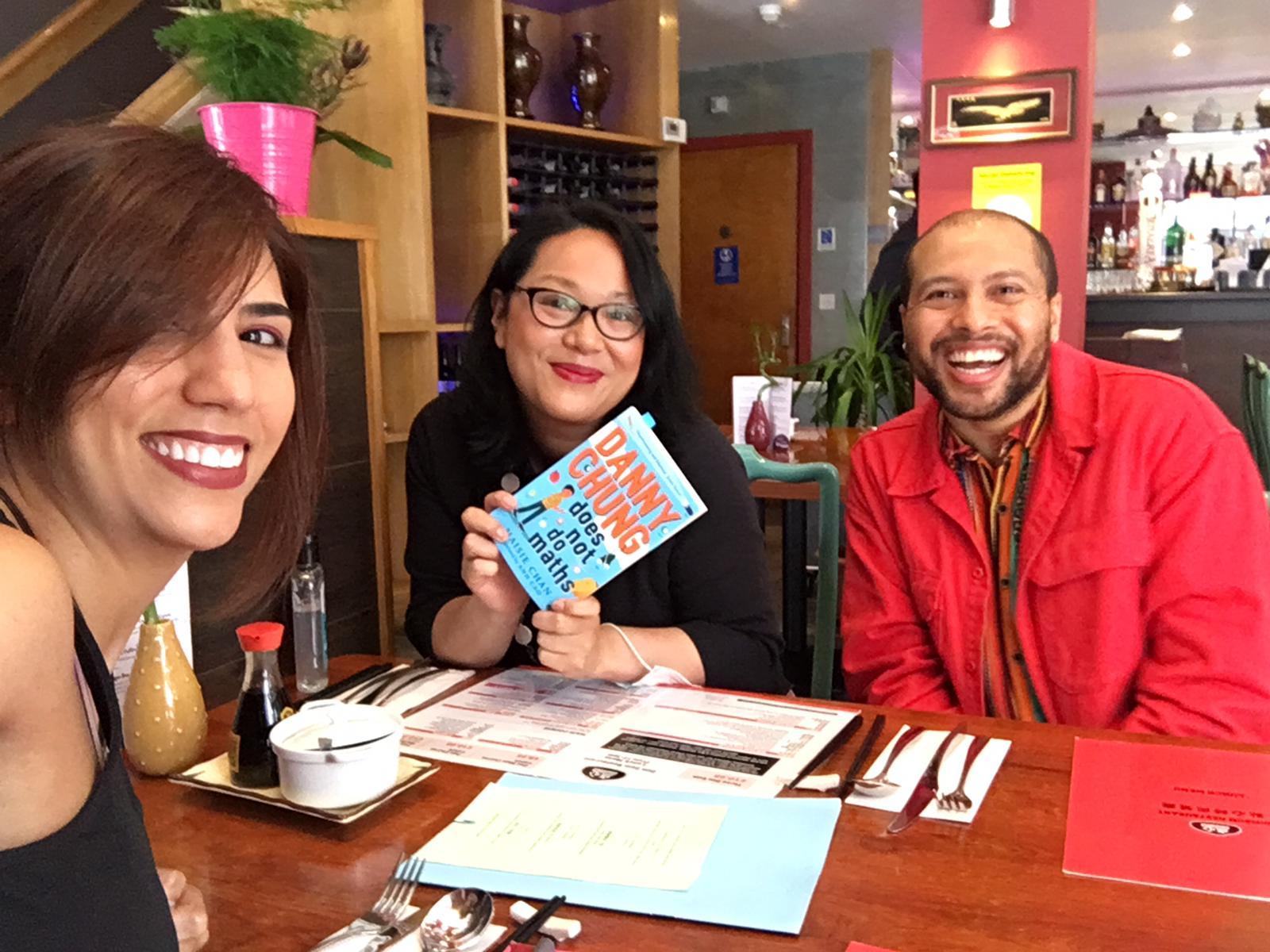 Danny Chung Book Launch Dim Sum with Dean Atta (The Black Flamingo) and Tita Berredo (Society of Authors, SCBWI Glasgow)