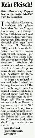 GT vom 30. 11. 2012 Leserbrief