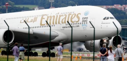 Platz Nummer sieben: Die arabische Airline Emirates. Der Start eines Airbus A 380-800 auf dem Flughafen Zürich in Kloten.
