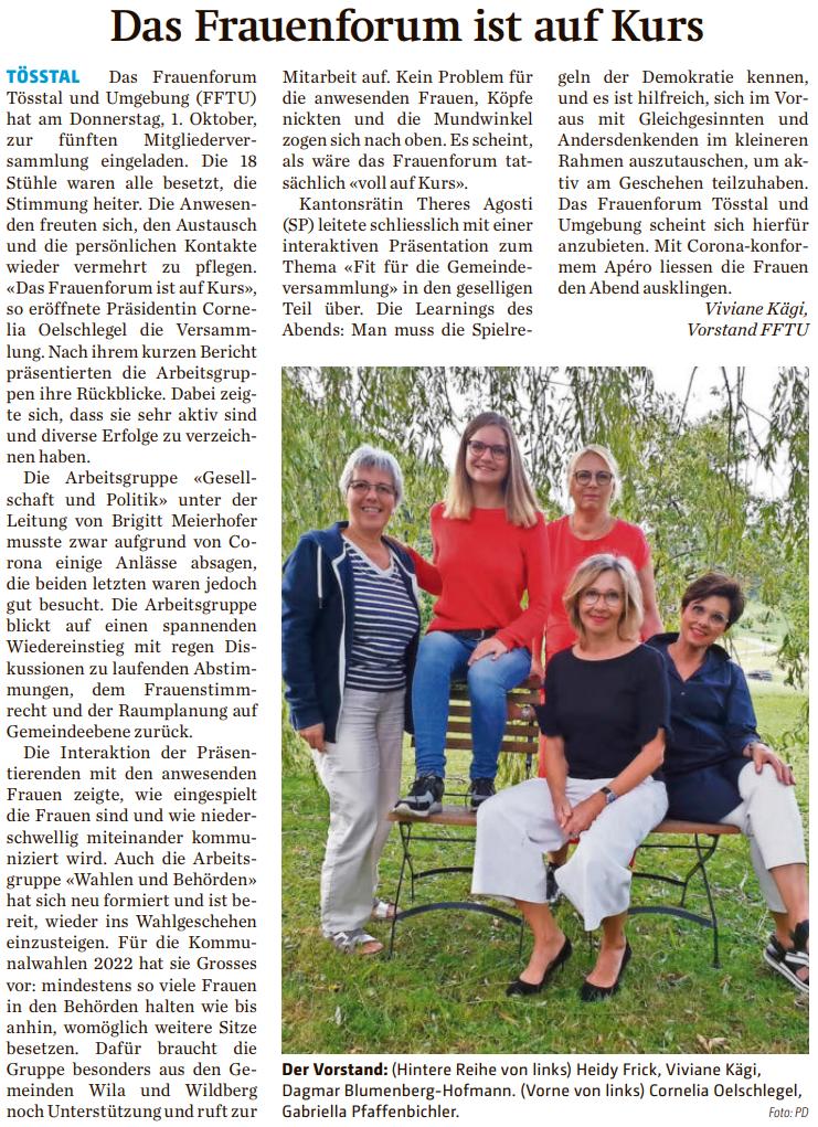 Bericht im Der Tössthaler,  9. Oktober 2020