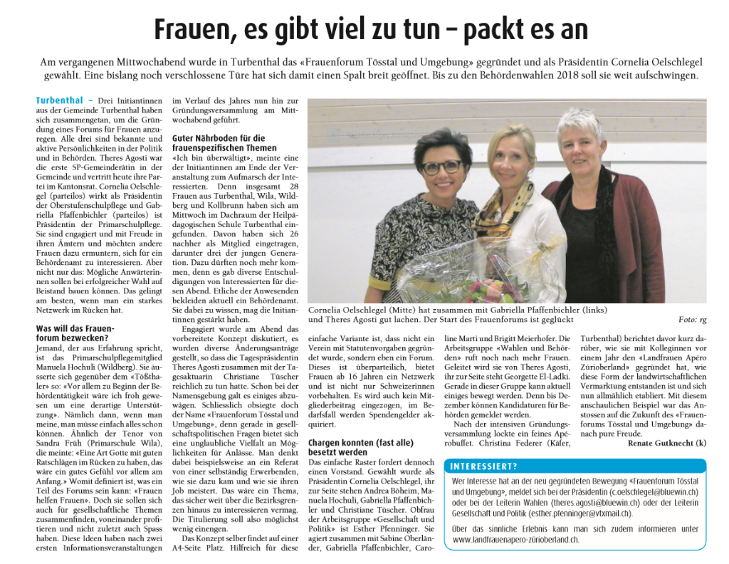 Bericht Der Tössthaler 3. Oktober 2017