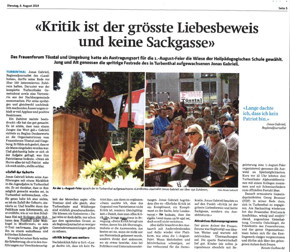 Bericht der Tössthaler vom 6. August 2019