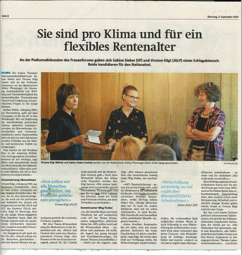 Bericht der Tössthaler vom 3. September 2019